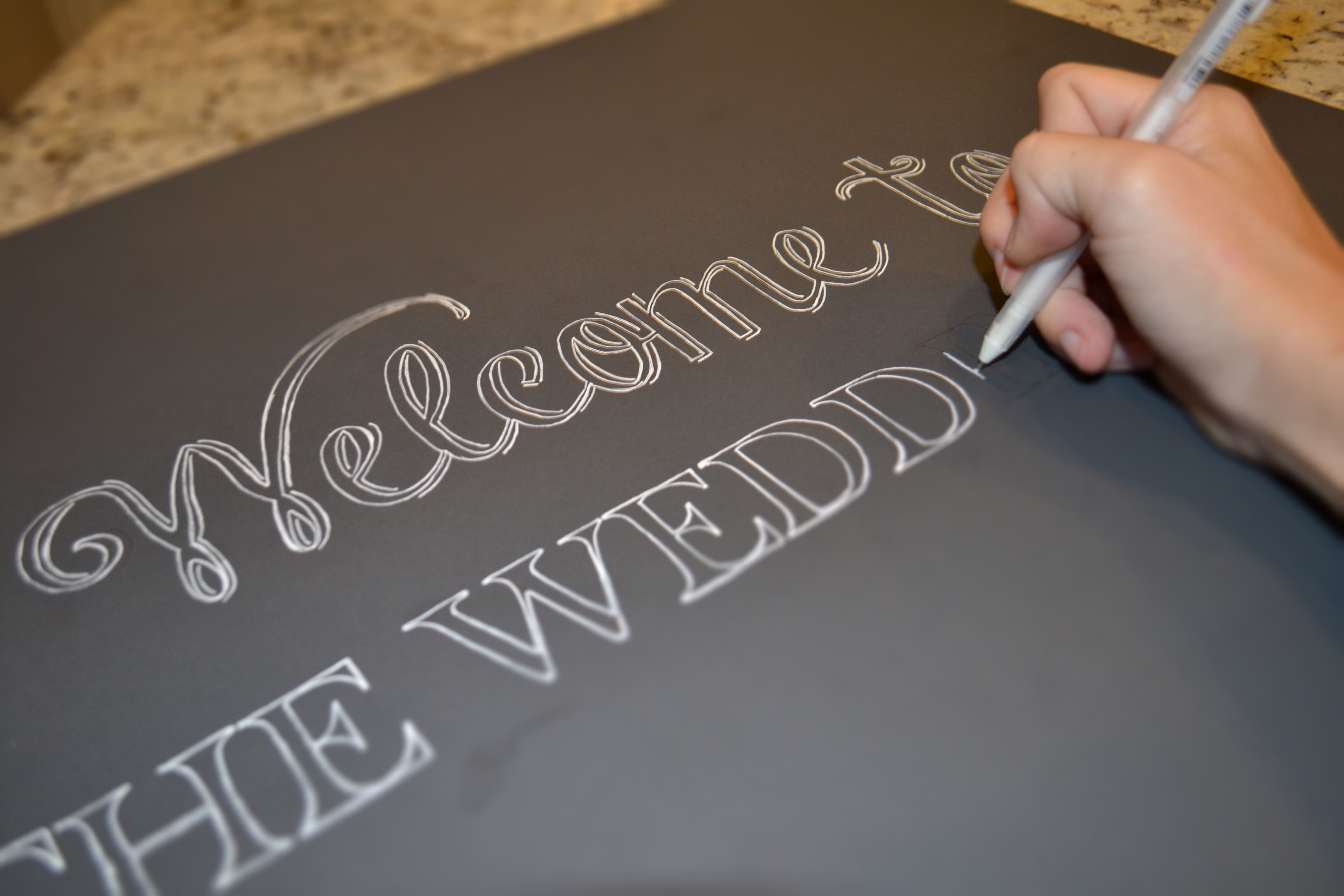 step 3 making the font look like chalk