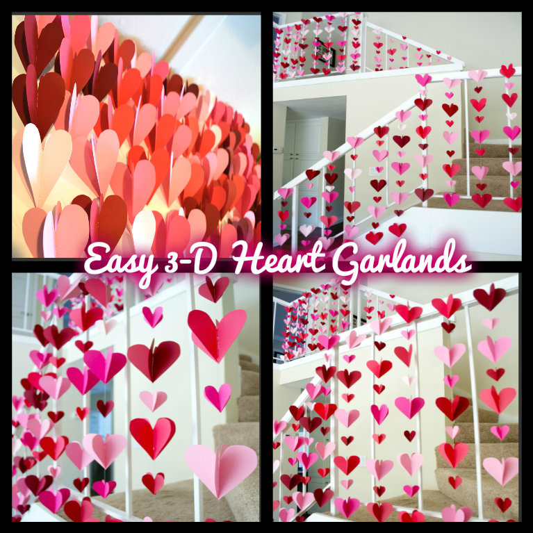 3 d heart paper garlands easy diy valentine decorations for Heart decorations for the home