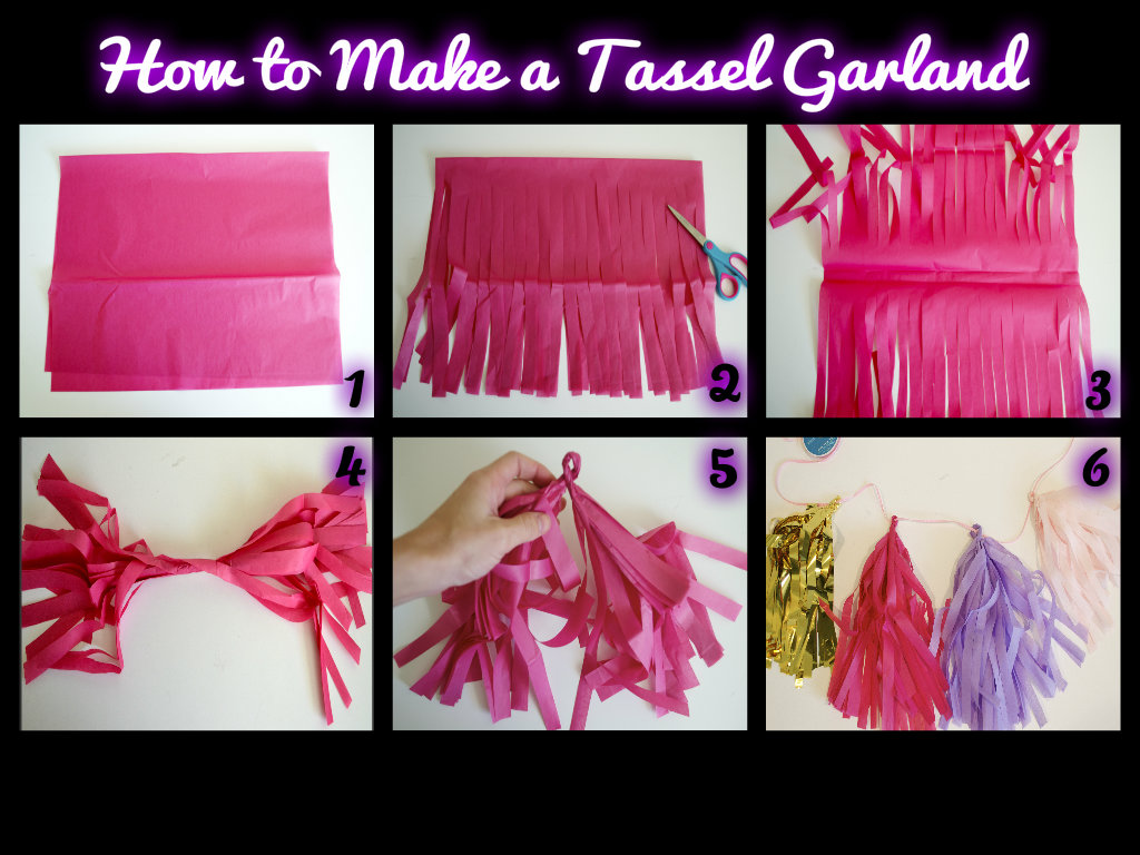 tissue paper garland step by step instructions how to make a tassel garland miss bizi bee. Black Bedroom Furniture Sets. Home Design Ideas