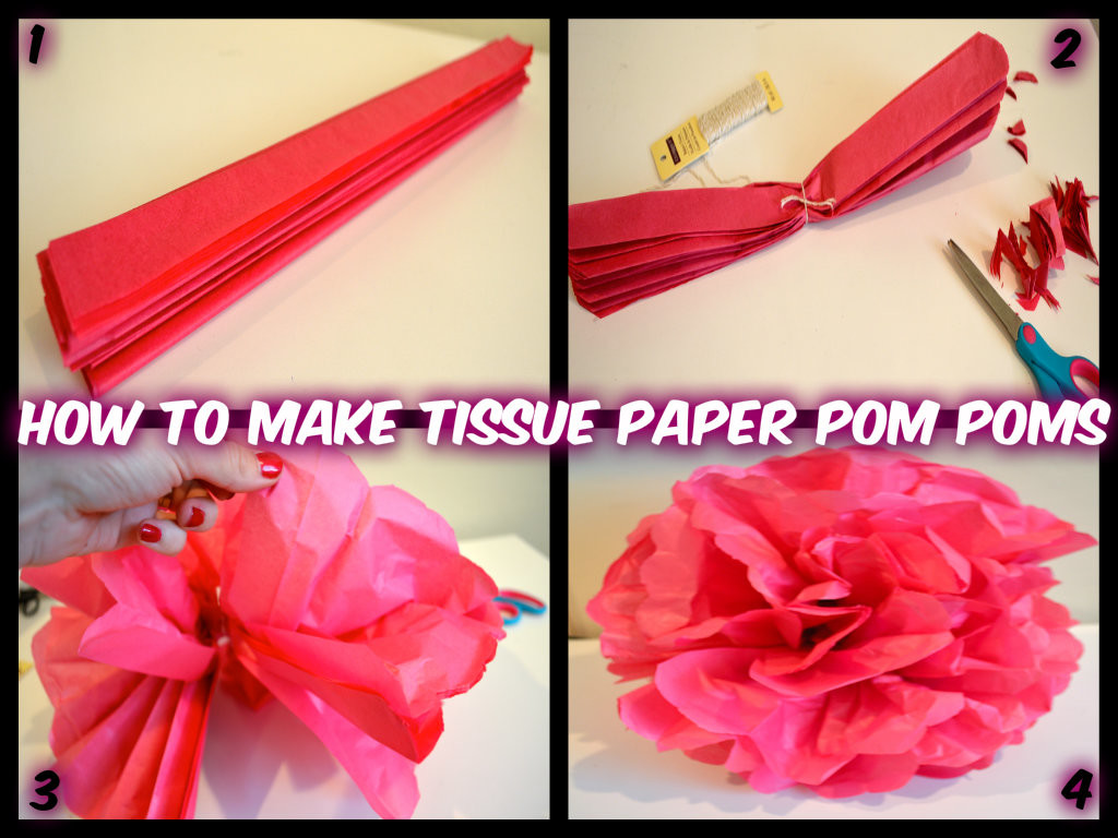 how much tissue paper for pom pom Tissue paper pom-poms add a festive flair to a wedding and reception they are very easy to make and at a cost of under $5, you will get a lot of bang for your.