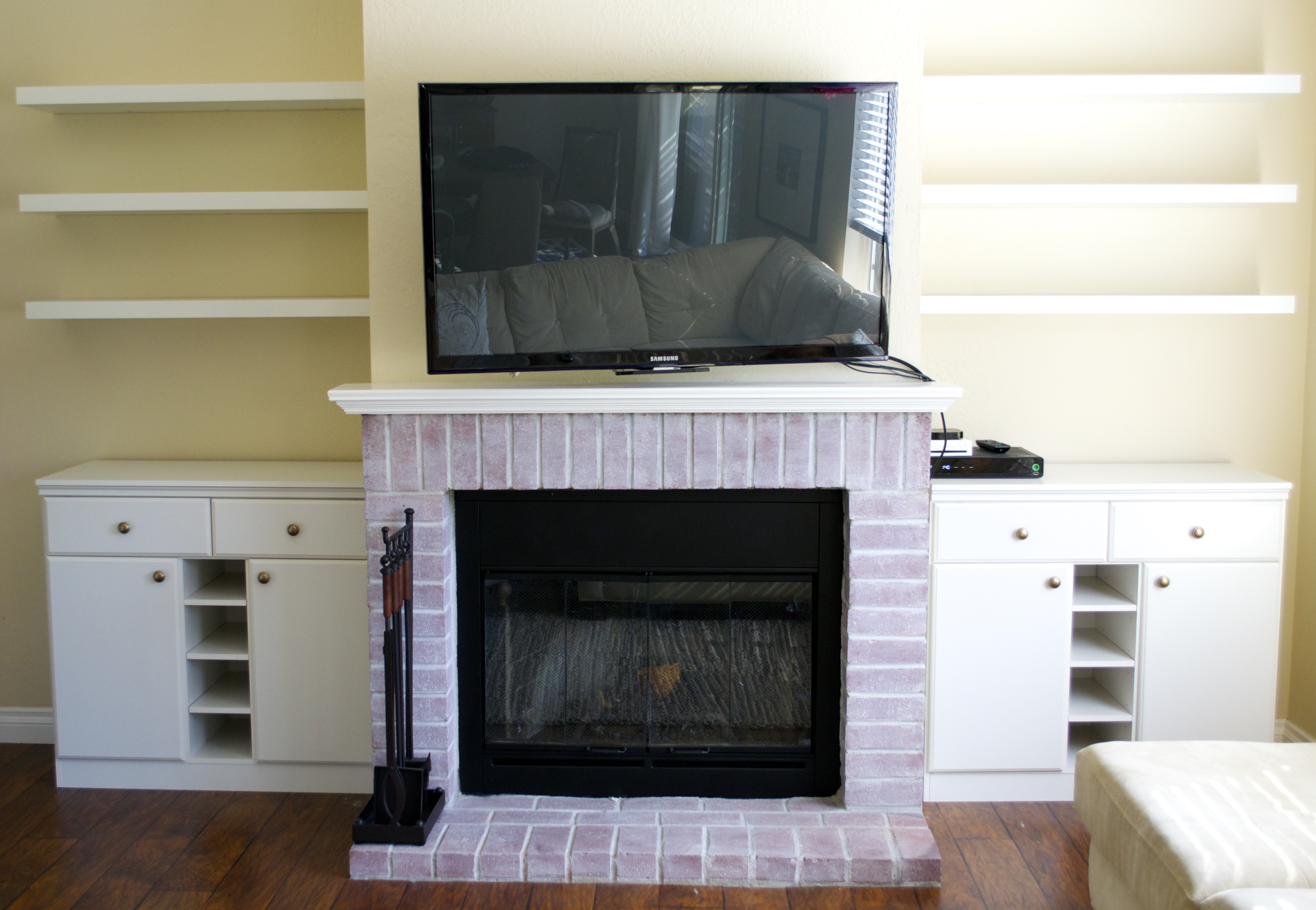 Living Room Built Ins Chic Fireplace Makeover With Fake Built Ins Miss Bizi Bee