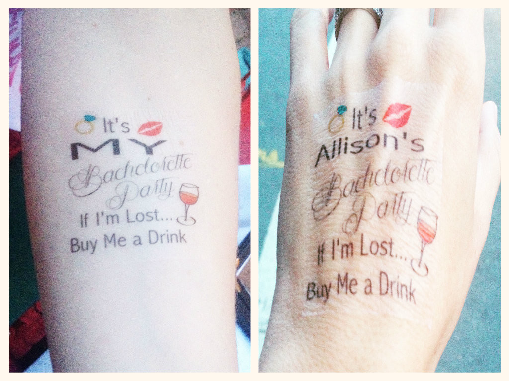 Diy decor for the bride to be a personalized for Bachelorette party tattoos