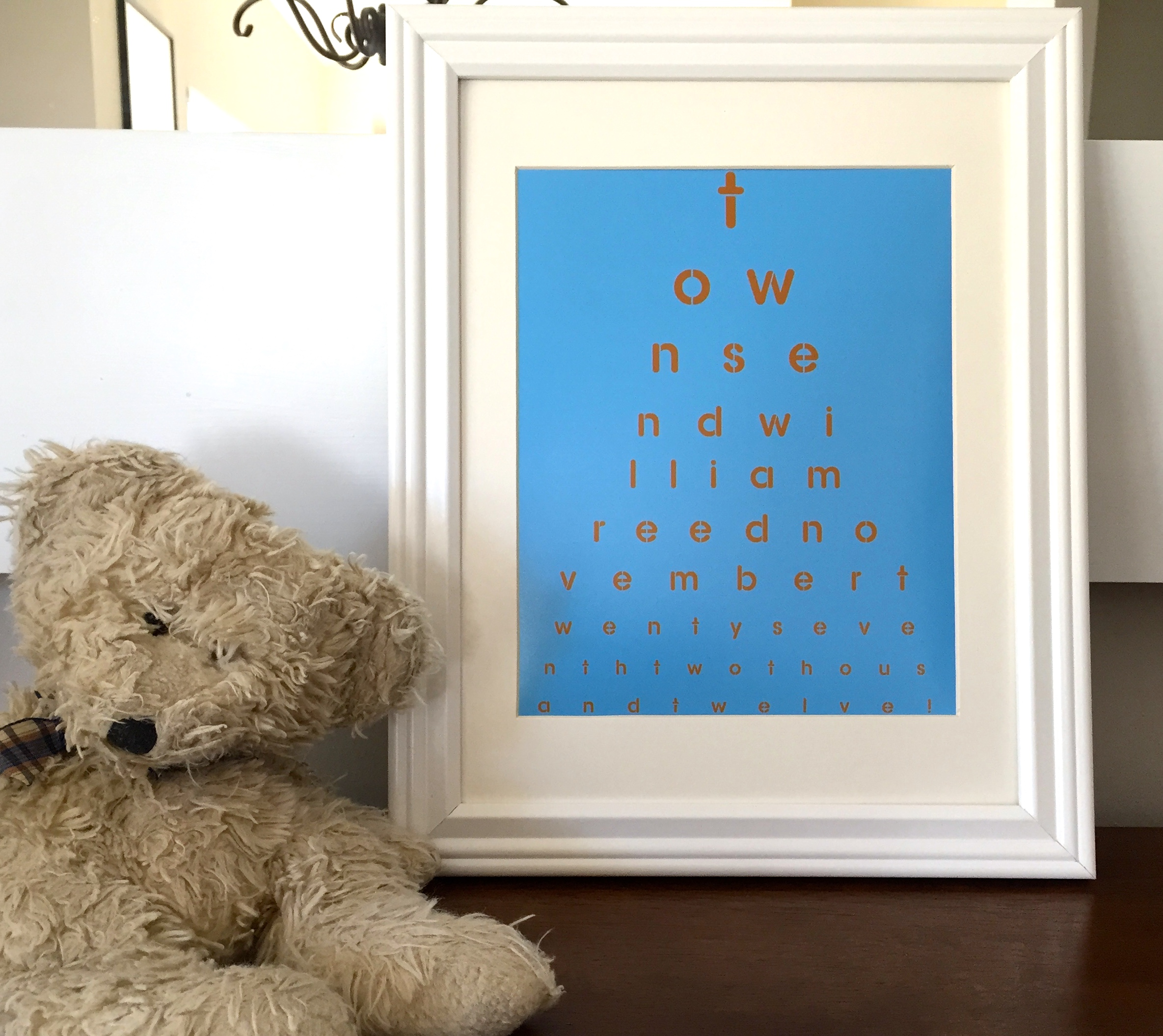 Customized eye chart maker great for personalized gifts and home toddler room decor customized eye chart nvjuhfo Image collections