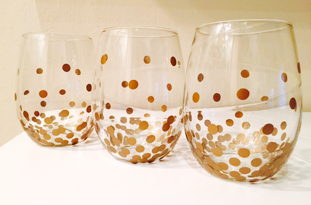 diy wine glasses gold dot kate spade knock off miss